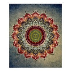 Folk Art Lotus Mandala Dirty Blue Red Shower Curtain 60  x 72  (Medium)