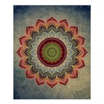 Folk Art Lotus Mandala Dirty Blue Red Shower Curtain 60  x 72  (Medium)  54.25 x65.71 Curtain