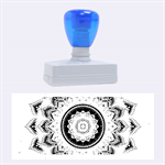 Folk Art Lotus Mandala Dirty Blue Red Rubber Stamps (Large) 2.26 x1.05  Stamp