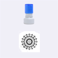Folk Art Lotus Mandala Dirty Blue Red Rubber Round Stamps (Small)