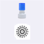 Folk Art Lotus Mandala Dirty Blue Red Rubber Round Stamps (Small) 1.12 x1.12  Stamp
