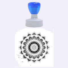 Folk Art Lotus Mandala Dirty Blue Red Rubber Round Stamps (large)
