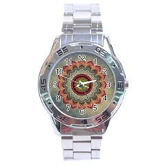 Folk Art Lotus Mandala Dirty Blue Red Stainless Steel Analogue Watch