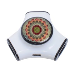 Folk Art Lotus Mandala Dirty Blue Red 3-Port USB Hub
