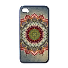Folk Art Lotus Mandala Dirty Blue Red Apple Iphone 4 Case (black)