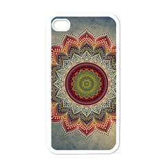 Folk Art Lotus Mandala Dirty Blue Red Apple iPhone 4 Case (White)