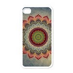 Folk Art Lotus Mandala Dirty Blue Red Apple iPhone 4 Case (White) Front