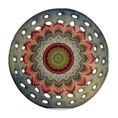 Folk Art Lotus Mandala Dirty Blue Red Round Filigree Ornament (2Side)