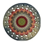 Folk Art Lotus Mandala Dirty Blue Red Round Filigree Ornament (2Side) Front