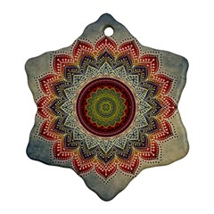Folk Art Lotus Mandala Dirty Blue Red Snowflake Ornament (2 Side)