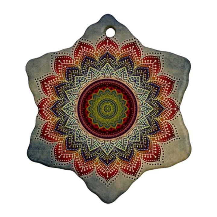 Folk Art Lotus Mandala Dirty Blue Red Snowflake Ornament (2-Side)
