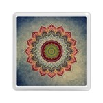 Folk Art Lotus Mandala Dirty Blue Red Memory Card Reader (Square)  Front