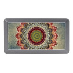 Folk Art Lotus Mandala Dirty Blue Red Memory Card Reader (mini)