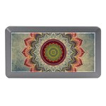 Folk Art Lotus Mandala Dirty Blue Red Memory Card Reader (Mini) Front