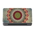 Folk Art Lotus Mandala Dirty Blue Red Memory Card Reader with CF Front