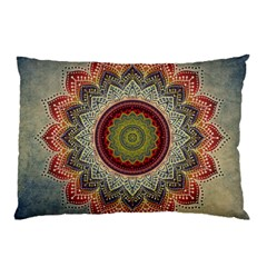 Folk Art Lotus Mandala Dirty Blue Red Pillow Case (Two Sides)