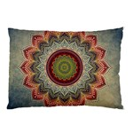 Folk Art Lotus Mandala Dirty Blue Red Pillow Case (Two Sides) Front