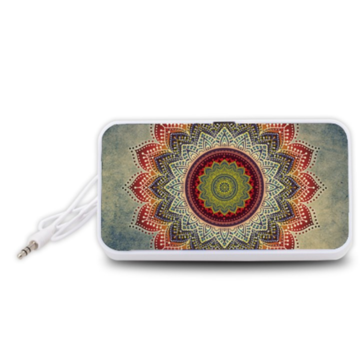 Folk Art Lotus Mandala Dirty Blue Red Portable Speaker (White)