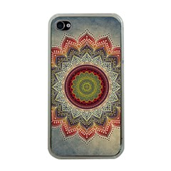 Folk Art Lotus Mandala Dirty Blue Red Apple iPhone 4 Case (Clear)