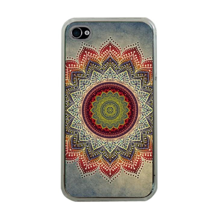 Folk Art Lotus Mandala Dirty Blue Red Apple iPhone 4 Case (Clear)