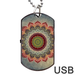 Folk Art Lotus Mandala Dirty Blue Red Dog Tag USB Flash (One Side)