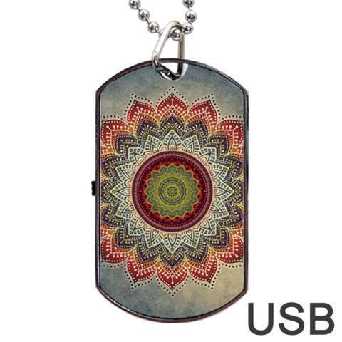 Folk Art Lotus Mandala Dirty Blue Red Dog Tag USB Flash (Two Sides)