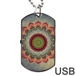Folk Art Lotus Mandala Dirty Blue Red Dog Tag USB Flash (Two Sides)  Front