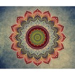 Folk Art Lotus Mandala Dirty Blue Red Deluxe Canvas 14  x 11  14  x 11  x 1.5  Stretched Canvas