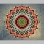 Folk Art Lotus Mandala Dirty Blue Red Deluxe Canvas 20  x 16   20  x 16  x 1.5  Stretched Canvas