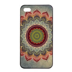 Folk Art Lotus Mandala Dirty Blue Red Apple iPhone 4/4s Seamless Case (Black)