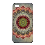 Folk Art Lotus Mandala Dirty Blue Red Apple iPhone 4/4s Seamless Case (Black) Front