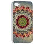Folk Art Lotus Mandala Dirty Blue Red Apple iPhone 4/4s Seamless Case (White) Front