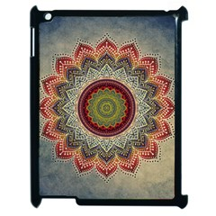 Folk Art Lotus Mandala Dirty Blue Red Apple Ipad 2 Case (black)