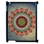 Folk Art Lotus Mandala Dirty Blue Red Apple iPad 2 Case (Black) Front