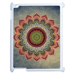 Folk Art Lotus Mandala Dirty Blue Red Apple iPad 2 Case (White)