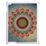 Folk Art Lotus Mandala Dirty Blue Red Apple iPad 2 Case (White) Front