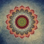 Folk Art Lotus Mandala Dirty Blue Red Happy Birthday 3D Greeting Card (8x4) Inside