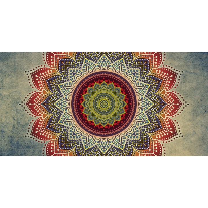 Folk Art Lotus Mandala Dirty Blue Red YOU ARE INVITED 3D Greeting Card (8x4)