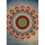 Folk Art Lotus Mandala Dirty Blue Red Heart Bottom 3D Greeting Card (7x5) Inside