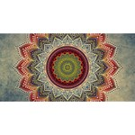 Folk Art Lotus Mandala Dirty Blue Red Twin Heart Bottom 3D Greeting Card (8x4) Front