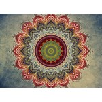 Folk Art Lotus Mandala Dirty Blue Red Ribbon 3D Greeting Card (7x5) Back