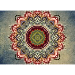 Folk Art Lotus Mandala Dirty Blue Red Birthday Cake 3d Greeting Card (7x5)