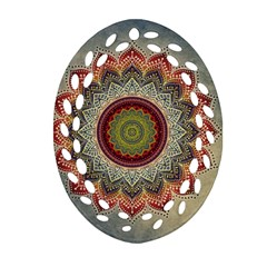 Folk Art Lotus Mandala Dirty Blue Red Oval Filigree Ornament (2-Side)
