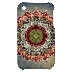 Folk Art Lotus Mandala Dirty Blue Red Apple iPhone 3G/3GS Hardshell Case