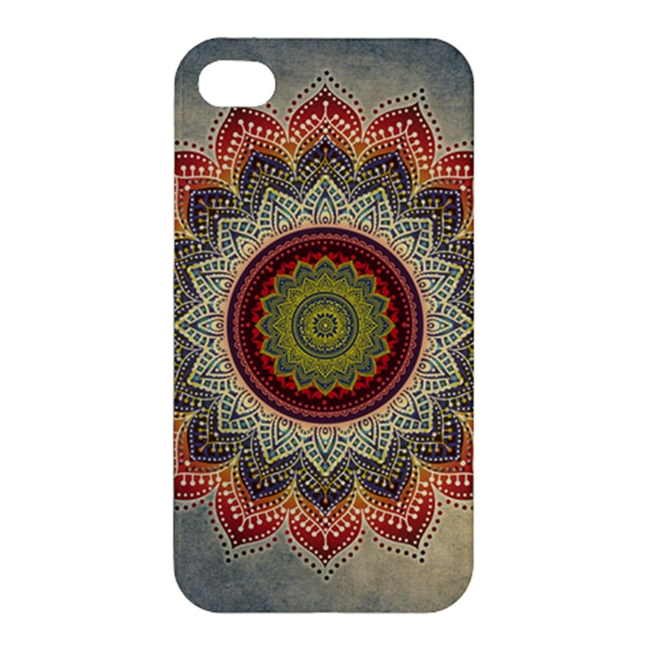 Folk Art Lotus Mandala Dirty Blue Red Apple iPhone 4/4S Hardshell Case