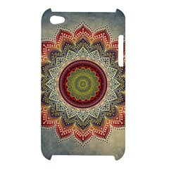 Folk Art Lotus Mandala Dirty Blue Red Apple iPod Touch 4