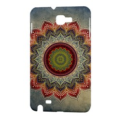 Folk Art Lotus Mandala Dirty Blue Red Samsung Galaxy Note 1 Hardshell Case