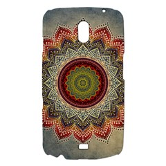 Folk Art Lotus Mandala Dirty Blue Red Samsung Galaxy Nexus i9250 Hardshell Case