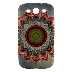 Folk Art Lotus Mandala Dirty Blue Red Samsung Galaxy S III Hardshell Case