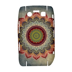Folk Art Lotus Mandala Dirty Blue Red Bold 9700
